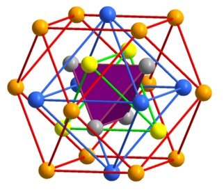 The crystal structure and chemical bonding scenario of the complex intermetallic compound Be21Pt5 was solved in a joint collaboration spearheaded by scientists from the Max-Planck Institute for Chemical Physics of Solids. Be21Pt5 shows the rare case of superconductivity in a complex intermetallic compound with over 400 atoms per unit cell. Real space analysis of the calculated electron density and the electron localizability indicator (ELI) reveal structural units with collective intra-cluster interactions, termed cluster bonding, which are linked in the structure by strongly polar three-center interactions.