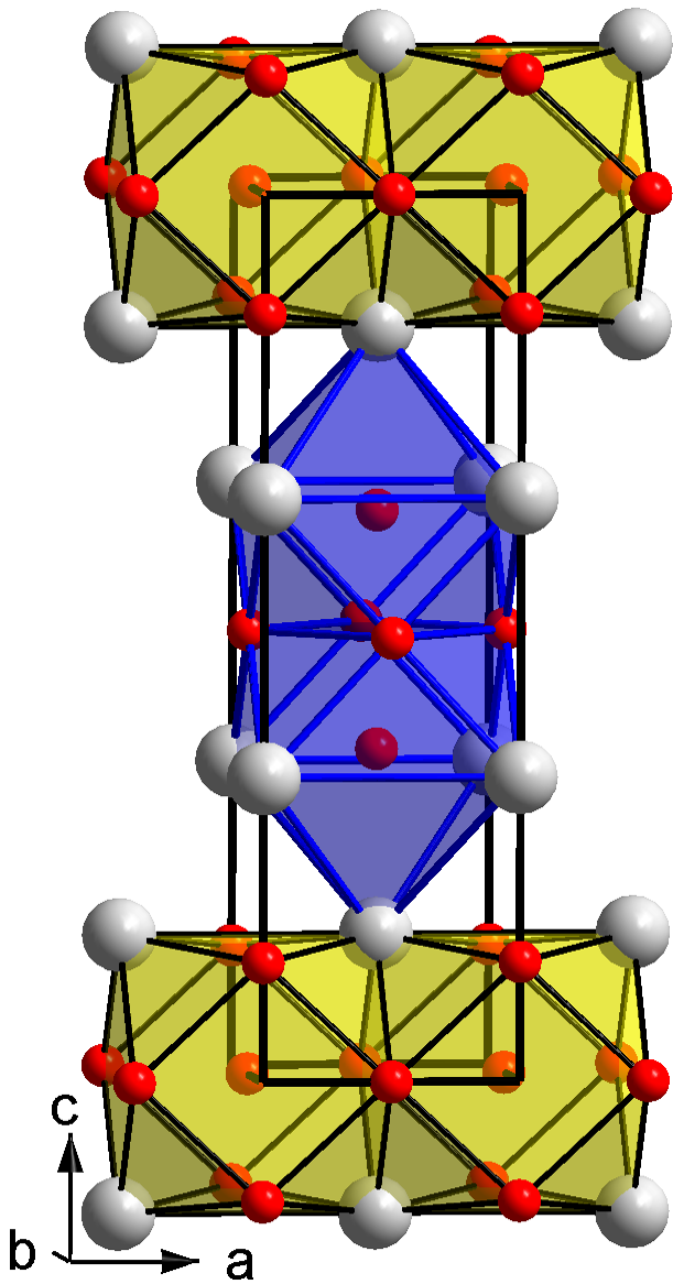 The crystal structure of ThPt2White spheres: Th; red spheres: Pt