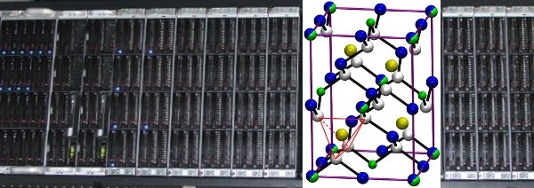 Figure 1: Part of our in-hose Linux based high-performance computing cluster together with the atomic model of CuIn5Se8 representing the thin film solar cell materials theoretically investigated by our group.