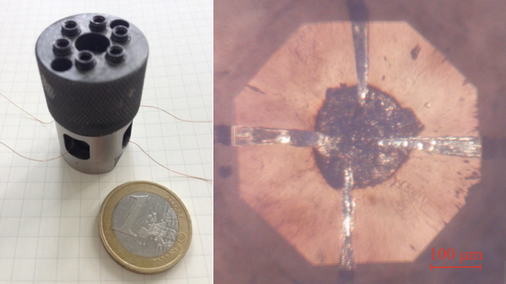 Figure 1: Diamond anvil cell (left) and the sample of Ag2Se at pressure 30 GPa (right) confined in the insulating gasket with 4 electrodes (catted from 5 mm thick Pt-foil) for the electrical resistivity measurements as seen through the diamond anvil