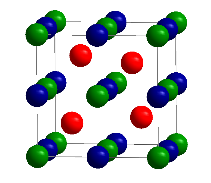 Figure 1: Half-Heusler structure with general composition XYZ (C1b or MgAgAs structure type) crystallizing in the cubic space group F43m (216)).