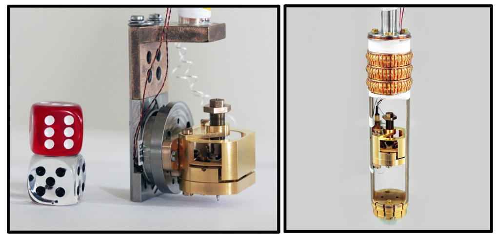 The dilatometer for a dilution refrigerator (left) and for a PPMS (right). This dilatometer enables to measure changes in length of appromimately 0.02Ȧ, (one hundred times smaller than the separations of the atoms in a typical crystal) at temperatures between 300 and 0.03 K and magnetic fields as high as 30 T.