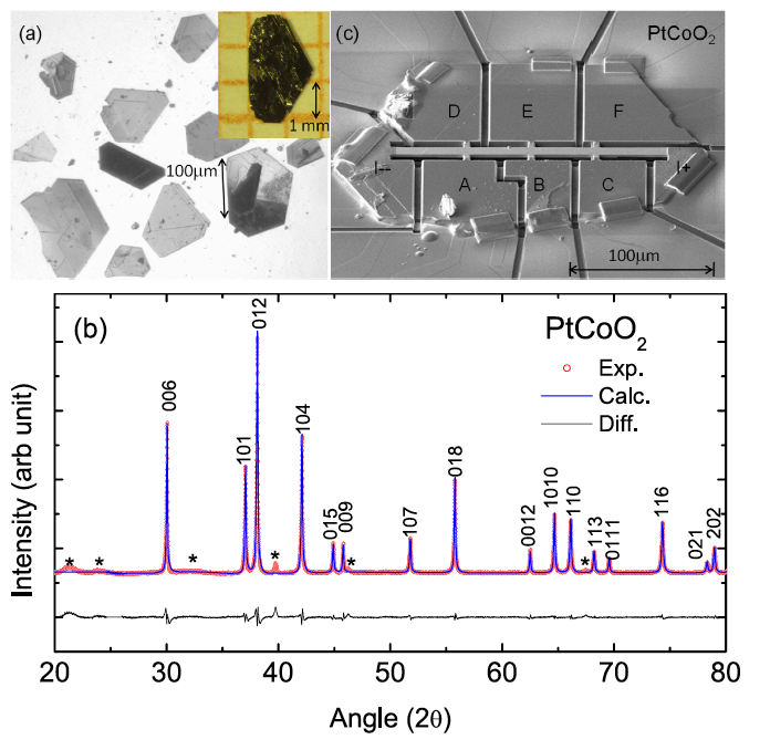 "<div style=""text-align: justify;"">Fig. 1:  a) As-grown PtCoO<sub>2</sub> single crystals; b) x-ray characterization; peaks marked * correspond to unreacted PtCl<sub>2</sub> adhering to as-grown crystals; c) focused ion beam sculpted sample for precise transport measurements.</div>"