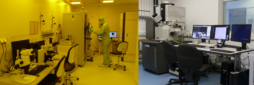 Figure 1: The clean room (left) and the Focused Ion Beam system (right).