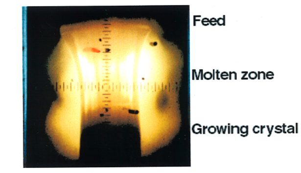 <strong>Figure 1.</strong> Crystal growth of a  boron carbide crystal inside a mirror furnace. Heating was performed with a high pressure Xe arc-discharge lamp.